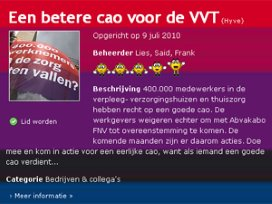 Abvakabo gebruikt Hyves in strijd cao VVT