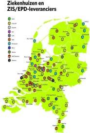 Spreiding epd-leveranciers over Nederlandse ziekenhuizen (Infographic: Loek Weijts)