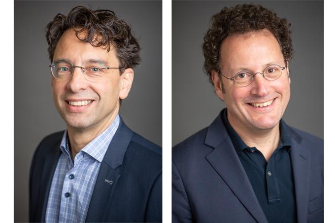 Foto: Onderzoekers Xander Koolman (l) en Eric van der Hijden (r): 'Willen ze hun aandeel van de zorgbundel verzilveren, dan moeten ze wel afspraken maken met andere zorgaanbieders.'